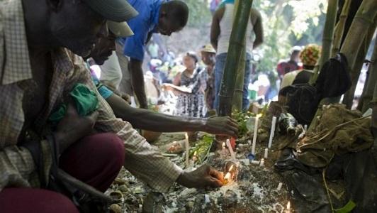 Practicantes de vudú en un rito